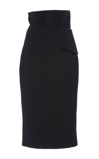 Medium brandon maxwell black pebbled jacquard folded waist skirt