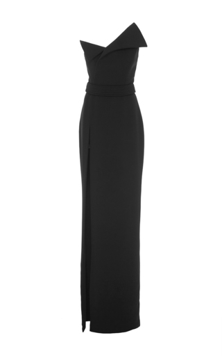Heavy Georgette Fold Over Gown by BRANDON MAXWELL for Preorder on Moda Operandi