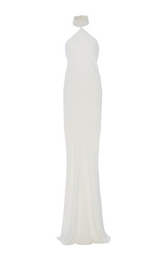 Heavy Georgette Piped Neck Sheath Gown by BRANDON MAXWELL for Preorder on Moda Operandi