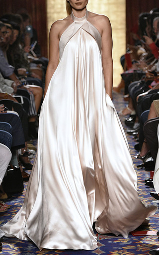 Crepe Back Satin And Pebble Jacquard Gown by BRANDON MAXWELL for Preorder on Moda Operandi
