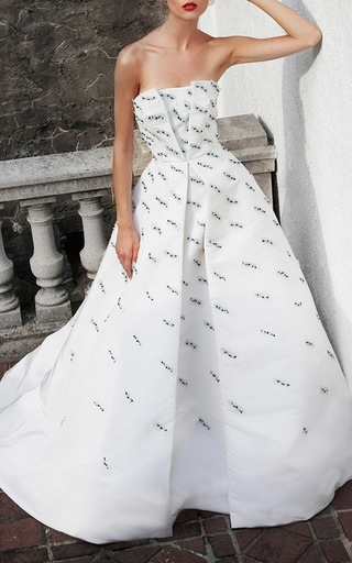 Parallelogram Embroidered Strapless Ball Gown by ELIZABETH KENNEDY for Preorder on Moda Operandi