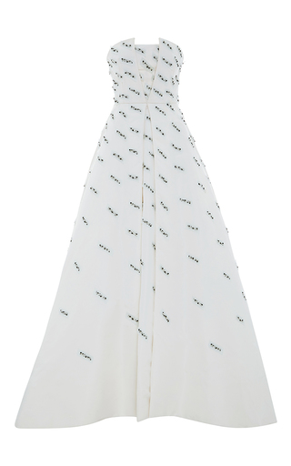 Medium elizabeth kennedy white parallelogram embroidered strapless ball gown