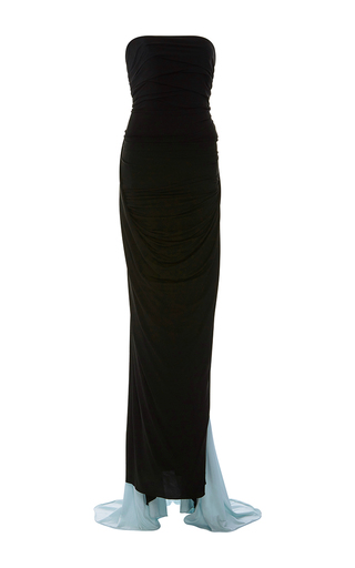 Medium elizabeth kennedy black strapless gathered jersey cape gown