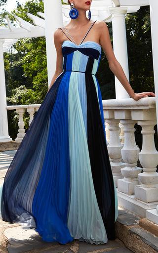 Monochromatic Sunburst Pleat Gown by ELIZABETH KENNEDY for Preorder on Moda Operandi