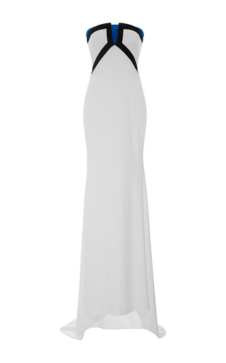 Strapless Color Blocked Fitted Gown by ELIZABETH KENNEDY for Preorder on Moda Operandi