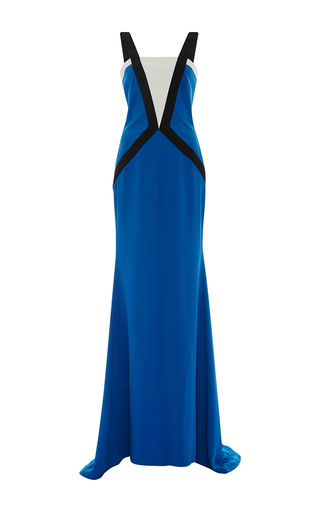 Medium elizabeth kennedy multi color blocked fitted gown