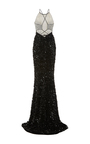 Geometric Embroidered Tie Up Detail Full Length Dress by ELIZABETH KENNEDY for Preorder on Moda Operandi