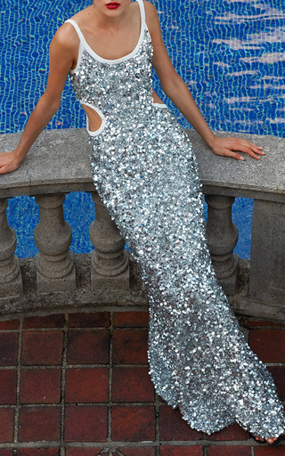 Scoop Neck Scrambled Sequin And Paillette Gown by ELIZABETH KENNEDY for Preorder on Moda Operandi