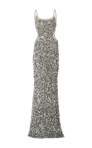 Medium elizabeth kennedy silver scoop neck scrambled sequin and paillette gown 2