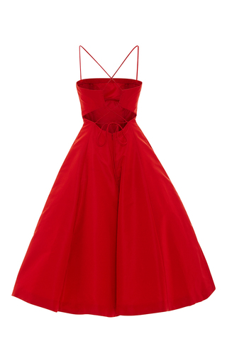 Tie Up Detail Tea Length Cocktail Dress by ELIZABETH KENNEDY for Preorder on Moda Operandi