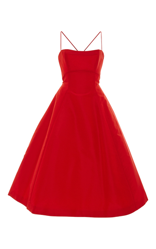Medium elizabeth kennedy red tie up detail tea length cocktail dress