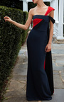 Color Blocked One Shoulder Draped Cape Gown  by ELIZABETH KENNEDY for Preorder on Moda Operandi