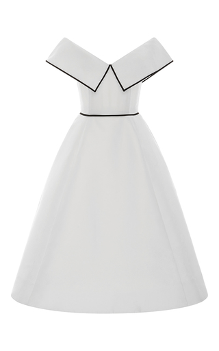 Medium elizabeth kennedy white off the shoulder pleated cocktail dress