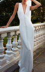 Vertical Triangle Embroidery V Neck Gown by ELIZABETH KENNEDY for Preorder on Moda Operandi