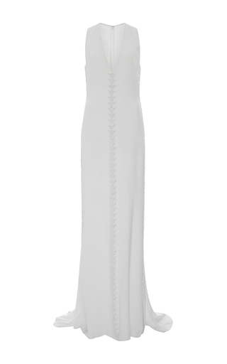 Medium elizabeth kennedy white vertical triangle embroidery v neck gown