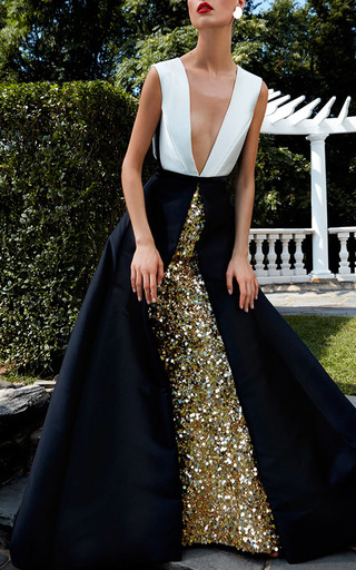 Gold Embroidered Underskirt With Bi Colored Over Dress by ELIZABETH KENNEDY for Preorder on Moda Operandi