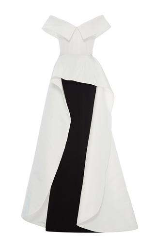 Medium elizabeth kennedy multi off the shoulder cascade peplum gown