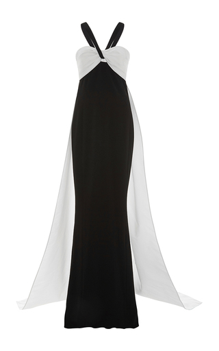 Color Blocked Cut Out Cape Gown by ELIZABETH KENNEDY for Preorder on Moda Operandi