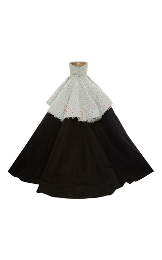 Strapless Two Tiered Embroidered Gown by ELIZABETH KENNEDY for Preorder on Moda Operandi
