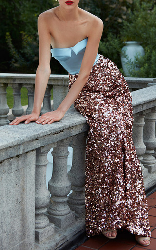 Strapless Bustier Embroidered Paillette Gown by ELIZABETH KENNEDY for Preorder on Moda Operandi