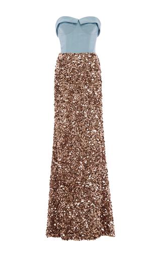 Medium elizabeth kennedy multi strapless bustier embroidered paillette gown