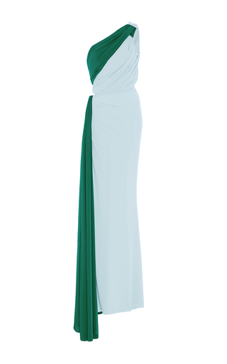 Medium elizabeth kennedy green one shoulder gathered cut out jersey gown
