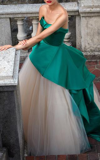 Strapless Bustier Cascade Peplum Gown by ELIZABETH KENNEDY for Preorder on Moda Operandi
