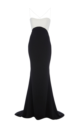 Medium elizabeth kennedy black color blocked empire waist gown with tie up back