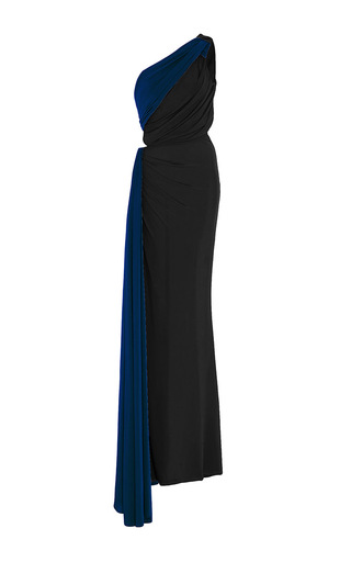 Medium elizabeth kennedy black one shoulder gathered cut out jersey gown 2