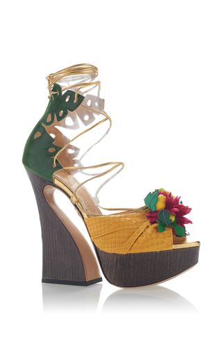 Medium charlotte olympia yellow chica chica boom lace up platform sandal