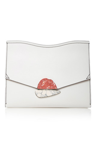Medium proenza schouler white embellished leather clutch