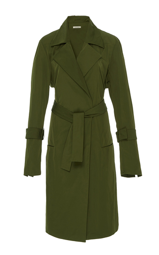 Medium protagonist dark green classic trench coat