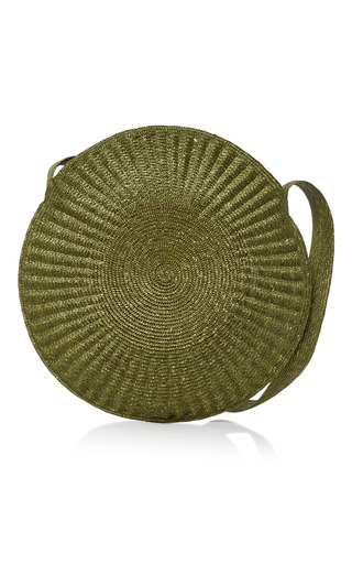 Medium samuji green circle straw bag
