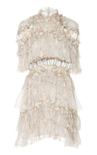 Medium zimmermann floral tiered printed silk chiffon mini dress
