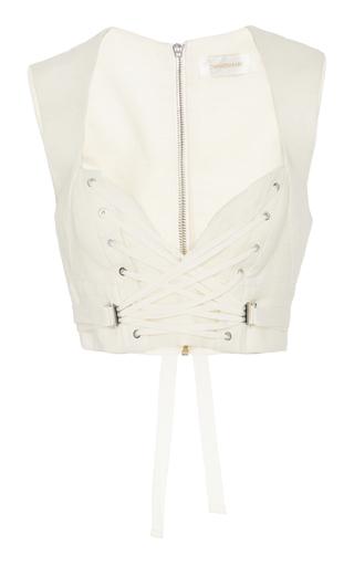 Medium zimmermann off white corset silk crepe vest