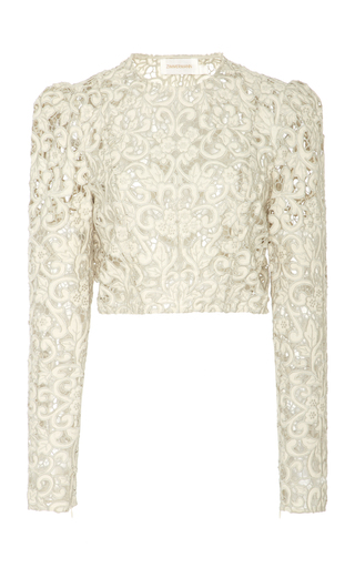 Medium zimmermann off white linen lace top