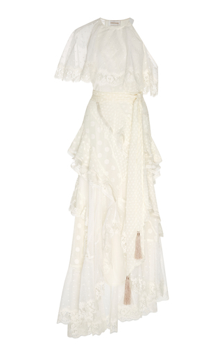 Medium zimmermann ivory bowerbird lovers lace paneled fil coupe silk blend gown
