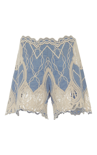 Medium jonathan simkhai blue crochet embroidered short