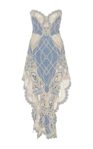 Medium jonathan simkhai blue crochet bustier ruffle dress