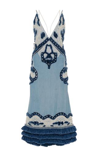 Medium jonathan simkhai blue pearl denim double strap dress