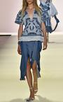 Embellished Denim V Neck Top by JONATHAN SIMKHAI for Preorder on Moda Operandi