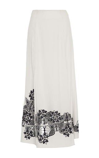 Medium jonathan simkhai white silk cutout embroidered slit skirt