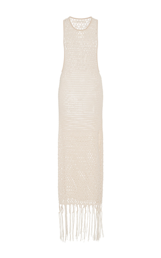 Cage Pearl Racer Fringe Gown by JONATHAN SIMKHAI for Preorder on Moda Operandi