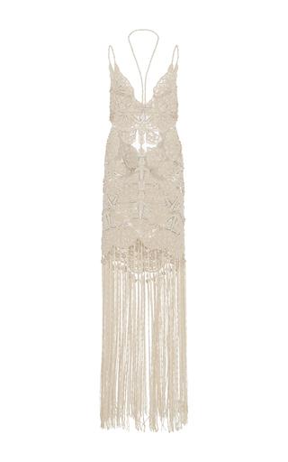 Medium jonathan simkhai ivory beaded fringe gown