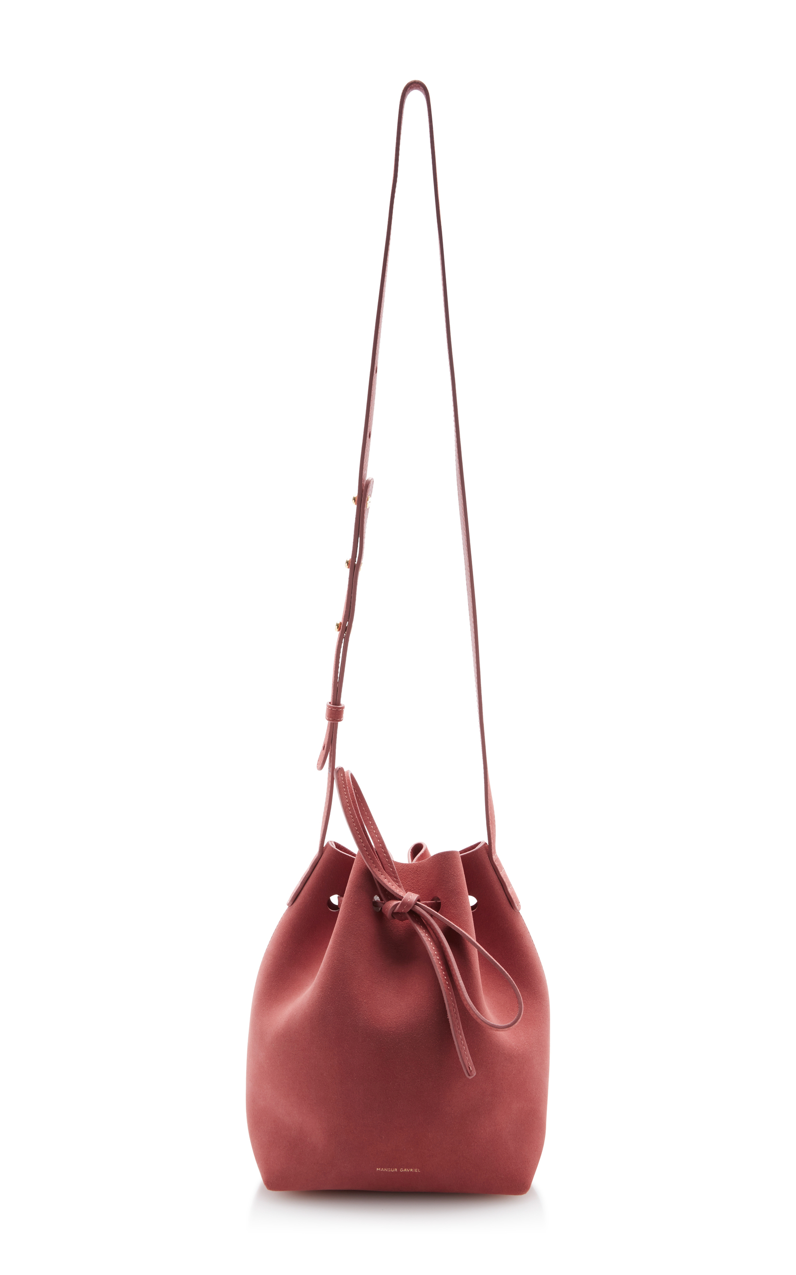 suede mini bucket bag by mansur gavriel moda operandi. Black Bedroom Furniture Sets. Home Design Ideas