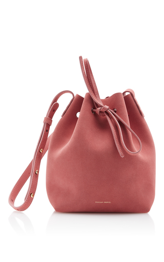 Medium mansur gavriel pink suede mini bucket bag