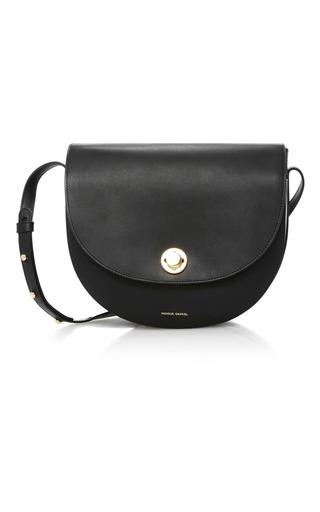 Medium mansur gavriel black saddle leather shoulder bag
