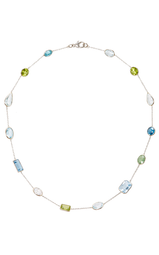 Medium renee lewis blue aquamarine peridot and zircon stone chain necklace