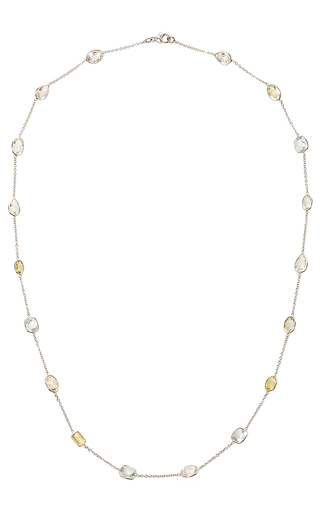 Medium renee lewis blue aquamarine and citrine stone chain necklace