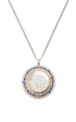 Medium renee lewis blue natural pearls french cut sapphires and diamonds rimmed white diamond shake necklace
